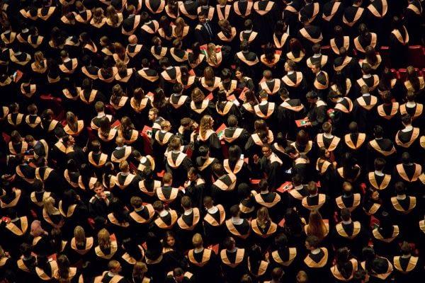 High school students at graduation