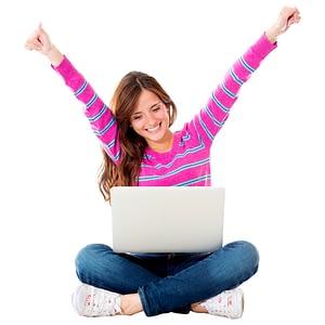 Female Student Online Celebrating